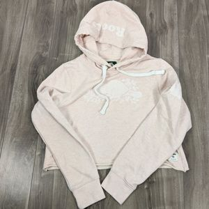 Roots Pale Pink XS Cropped Hoodie